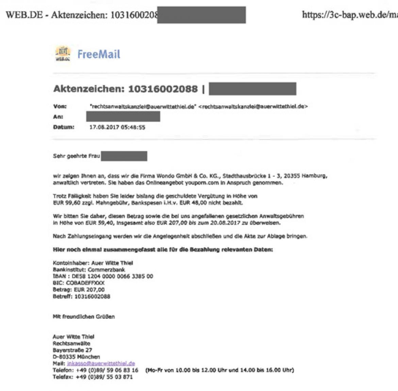 Fake Mahnung E Mails Von Auer Witte Thiel Für Youporncom Sind