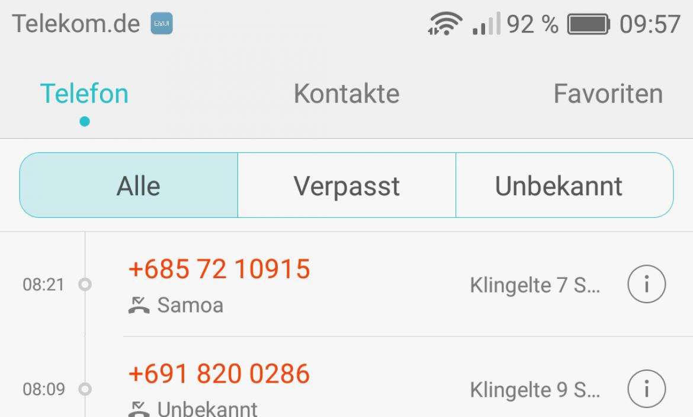 Ping Anrufe Ausland