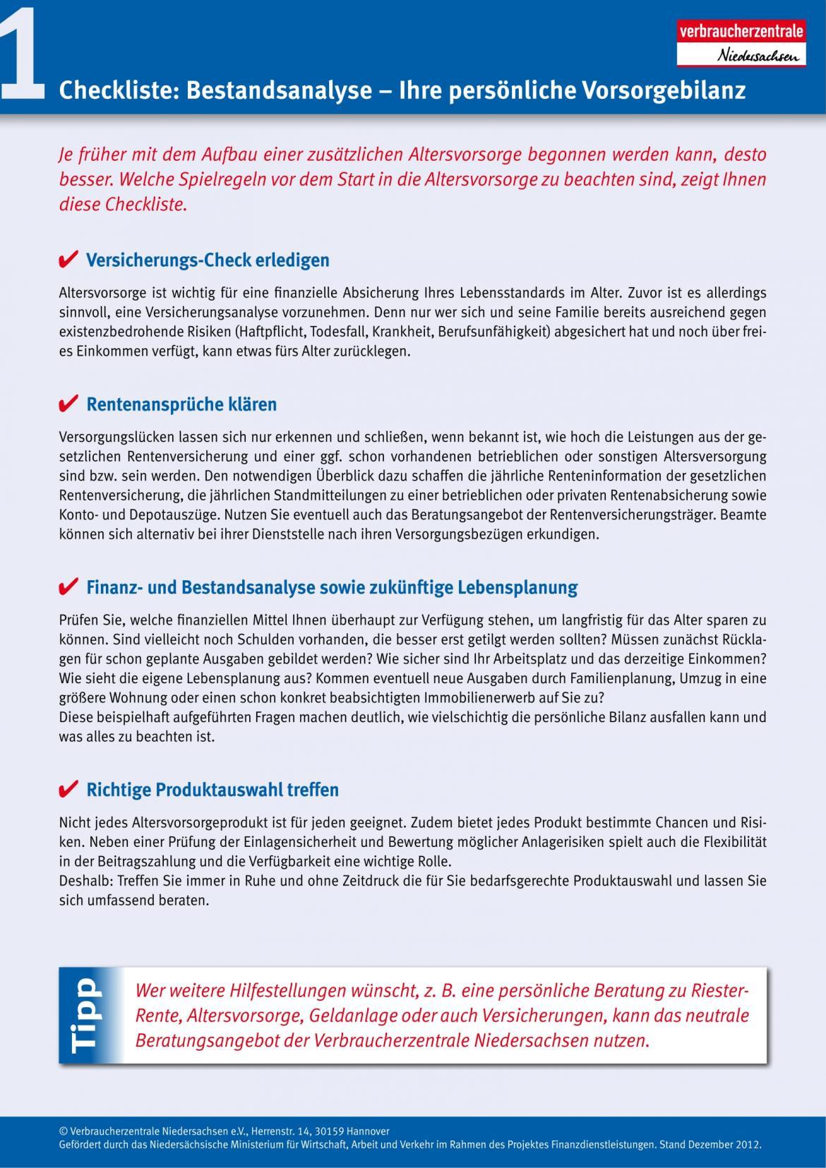 1 Checkliste: Bestandsanalyse | Verbraucherzentrale Niedersachsen